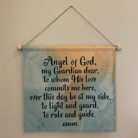 Angel of God Wall Hanging. Angel of God Wall Art. Bedroom Prayer Art. Inspirational Art. Christmas Easter Gift. Catholic. Linen Tapestry.