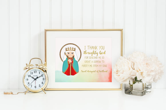 Saint Margaret of Scotland prayer print. Saint Margaret Wall Art Poster. Nursery Prayer Print. Catholic Poster. Baptism Gift. Margaret Gift.