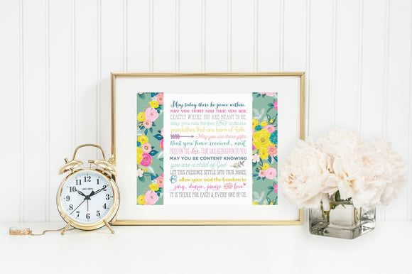 May today there be peace within poster print. St. Therese Wall Art Poster. First Communion. Prayer Poster. Catholic Poster. Baptism Gift.