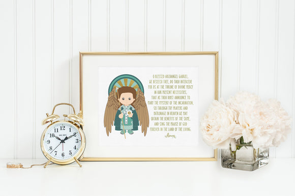 Saint Gabriel print. Baptism Gift. Children's & Nursery Decor, Christian Catholic Gift. First Communion Gift. St. Gabriel Gift.