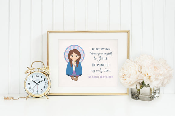 Saint Kateri poster print. St. Kateri Tekakwitha Wall Art Poster. First Communion. I am not my own Poster. Catholic Gift. Baptism Gift.