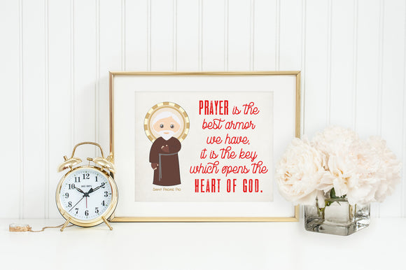 Saint Pio poster print. St. Pio Wall Art. First Communion. Kids Room. Prayer Poster. Catholic Baptism Gift. Prayer is the most powerful.
