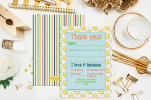 Kids pre-made thank you cards. Pre-Written Children Thank You Notes. Set of 10. In Stock. Fill in children notes. Sun and stripes thank you