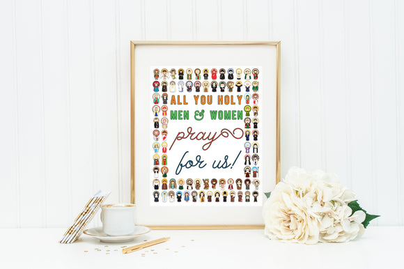 All you holy men and women pray for us poster print. Catholic Wall Art Poster. First Communion. JPII, Mother Teresa, Mary Poster Kids Saints