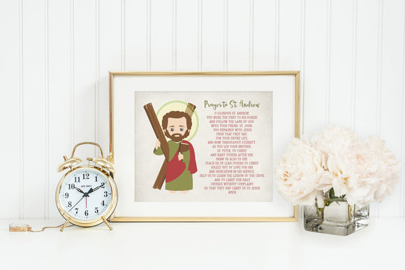 St Andrew poster print. Saint Andrew Wall Art Poster. First Communion. St Andrew Prayer Poster. Catholic Gift. Baptism Gift.