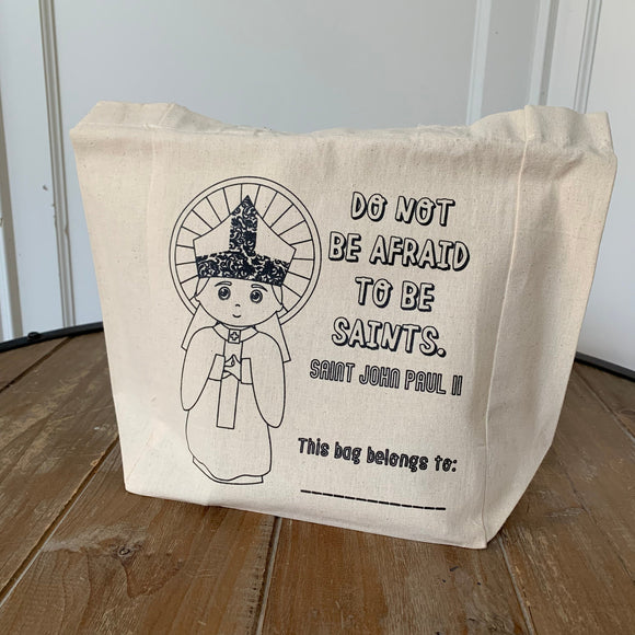 John Paul II Kids Coloring Tote Bag. Do not be afraid to be saints canvas bag. Catholic Gift. Catholic Saint Bag. Kids Mass Tote Bag.
