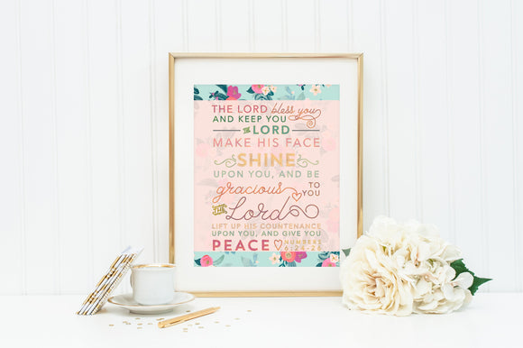 The Lord bless you and keep you wall art print. Numbers 6:24-26 Print. Scripture Print. The Lord make his face shine upon you.