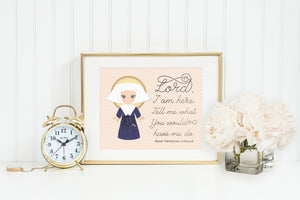 Saint Catherine Laboure poster print. Lord I am here Wall Art Poster. First Communion. St. Catherine Laboure Print. Catholic Prayer Poster.