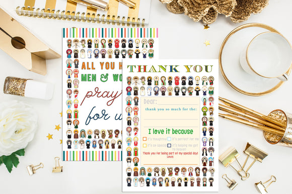 First Communion Thank You Note Cards. Catholic Saints Note Card. Pre-written Kids First Communion Thank you. Pre-made First Holy Communion.