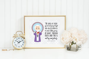 St Nicholas poster print. St Nicholas Wall Art Poster. First Communion. The Giver of every good & perfect Gift Poster Catholic Saint Poster