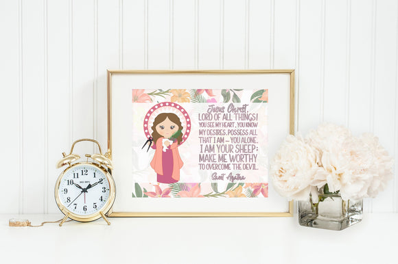 Saint Agatha poster print. St. Agatha Wall Art Poster. First Communion. Kids Room. Prayer Poster. Catholic Poster. Baptism Gift. Agatha gift