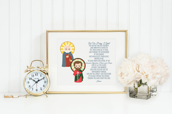 Saint Peter and Paul poster print. Peter and Paul Wall Art Poster. Nursery Art. Kids Room. Prayer Print. Catholic. Peter and Paul Prayer.