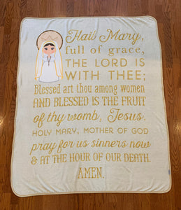 "Hail Mary Full of Grace Soft Fleece throw Blanket. Saints Prayer Blanket. 50 x 60"" Catholic Saint Blanket. Baptism Gift. Catholic Gift."