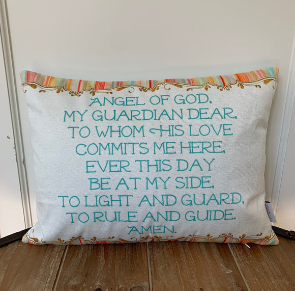 Angel of God pillow. Baptism Gift. Children's pillow. Nursery Decor Christian Catholic Gift. First Communion Gift. Angel of God my Guardian.