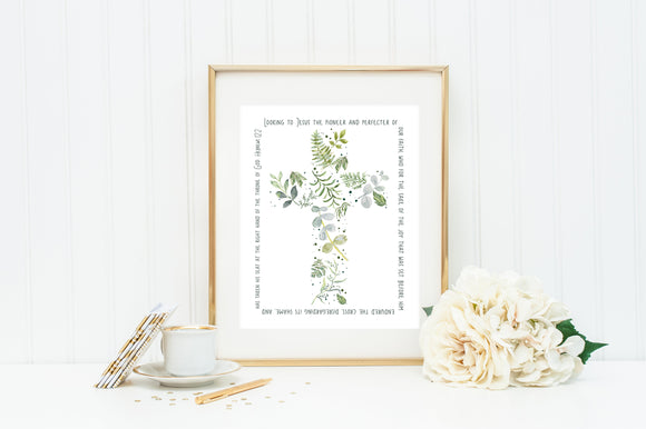 Hebrews 12:2 Scripture Cross Print. Leafy Cross Scripture Wall Art Poster Gift. Looking to Jesus Poster. Perfecter of our faith poster print