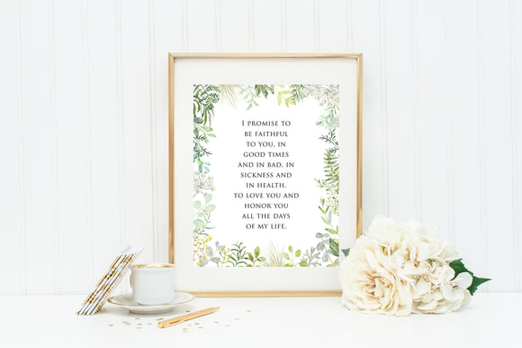 Vow print. Wedding Gift. I promise to be faithful vow wedding print. Wedding Greenery Prayer print. Christian Wall Art Print. Marriage Vows.