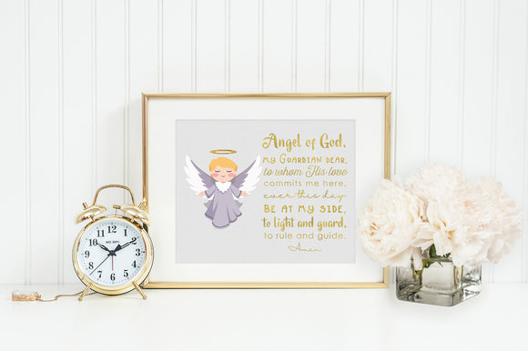 Angel of God poster print. Angel of God Wall Art Poster. Nursery Art. Kids Room Print. Prayer Print Poster. Catholic Poster.
