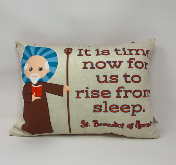 Saint Benedict of Nursia pillow. It is now time for us. Catholic Gift. Baptism Gift. Saint pillow. First Holy Communion. St. Benedict gift.