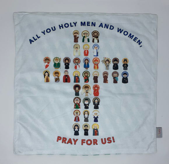 All you Holy Men and Women pray for us Ultra Soft Lovey Blanket. Baby Prayer Blanket. Saint Lovie Blanket. Baptism Gift. Catholic Cross