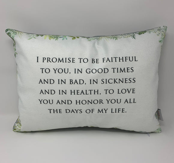 Wedding Vows Pillow. I promise to be faithful to you wedding Pillow. Home Decor Pillow. Wedding Pillow. Wedding gift. Wedding Vows gift.