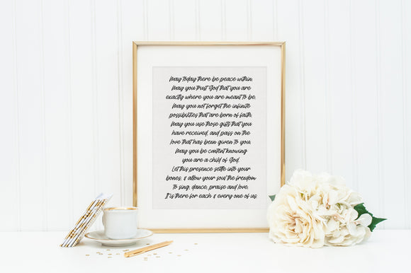 May today there be peace within prayer by St. Therese. St. Therese of Lisieux Prayer Print. Christian Wall Art Print. Black and White Prayer