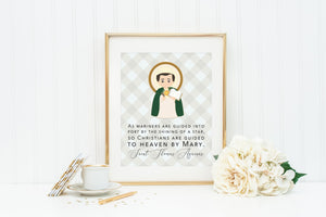 St Thomas Aquinas poster print. Saint Thomas Wall Art. First Communion. Christians are gilded to heaven by Mary. Catholic Gift. Baptism.