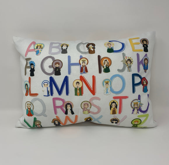 Women Saint ABC pillow. Catholic Saints pillow. Christian Catholic Gift. Baptism Gift. Saint pillow. Mother Teresa. St. Therese. ABC pillow.