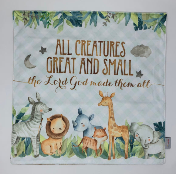 All creatures great and small the Lord God made them all Ultra Soft Lovey Blanket. Baby Prayer Blanket. Safari Lovie Blanket. Baptism Gift.