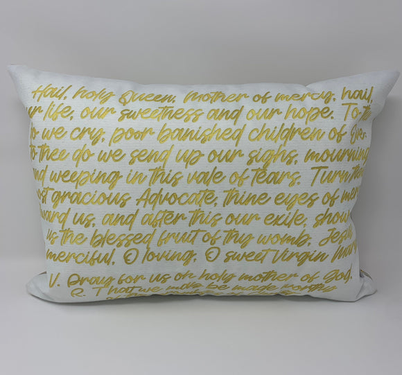 Hail Holy Queen pillow. Baptism Gift. Catholic Pillow Decor, Christian Catholic Gift. First Communion Gift. Hail Holy Queen Prayer Pillow