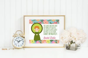 Saint Zelie poster print. St. Zelie Wall Art Poster Gift. Carry on bravely. Encouragement Print. Prayer Poster. Catholic Poster. Mama Gift.