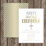 Modern First Communion Invitation. Baptism Invite. Custom First Holy Communion. Christening. Gold Coral, Blue, Grey. Gold Invite.