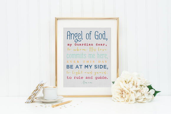 Angel of God. Angel of God Print Matted to an 11 x 14. In Stock. Angel Of God Print. Christian Wall Art.  Angel of God Art. Typography Art