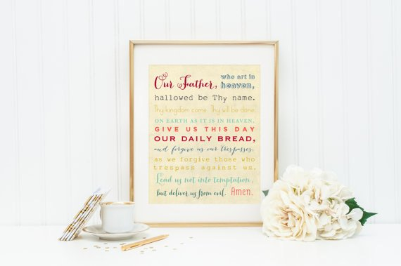 Our Father Print. 8x10 Our Father matted to 11 x 14. Our Father Print. Christian Wall Art. Our Father Wall Art. Typography Art