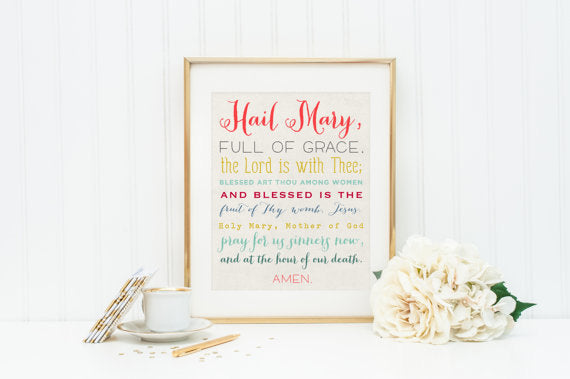 Hail Mary Print. 8 x 10 Hail Mary Print. 8x10 Matted to 11 x 14. Christian Wall Art Print. Hail Mary Wall Art. Baptism Gift. Holy Communion