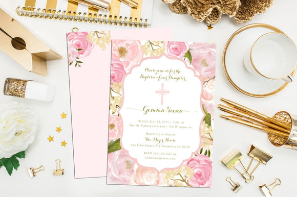 Floral Baptism Invitation. Printable Custom Baptism Invites. Christening Invitation. First Communion. Confirmation. Watercolor Baptism