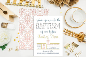 Floral Baptism Invitation. Printable Custom Baptism Invites. Christening Invitation. First Communion. Confirmation. Pink Flower Baptism