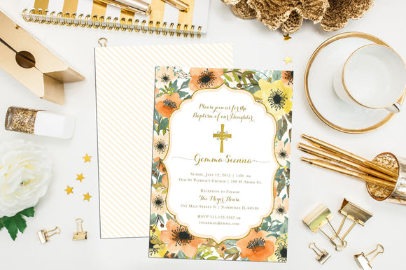 Floral Baptism Invitation. Custom Baptism Invites. Christening Invitation. First Communion. Custom Flower Baptism. Watercolor Baptism Invite