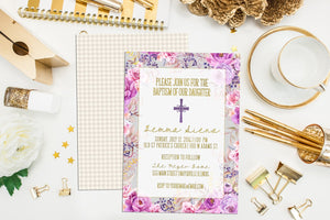 Modern Floral Baptism Invitation. Custom Baptism Invites. Christening Invitation. First Communion. Confirmation. Watercolor Baptism
