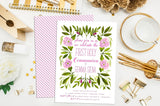 Floral First Communion or Baptism Invitation. Baptism Invite. Custom First Holy Communion. Christening. Floral Communion Invite.