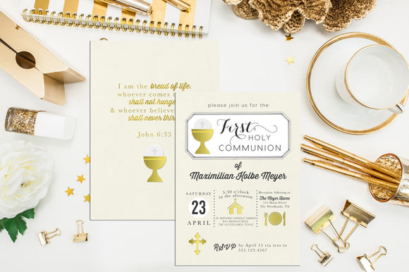 Boy First Communion Invitation. Baptism Invite. Custom First Holy Communion. Christening. Boy Communion. Girl Communion Invite.