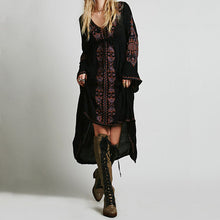 Load image into Gallery viewer, Embroidered Cotton Asymmetric Long Bohemian Dress