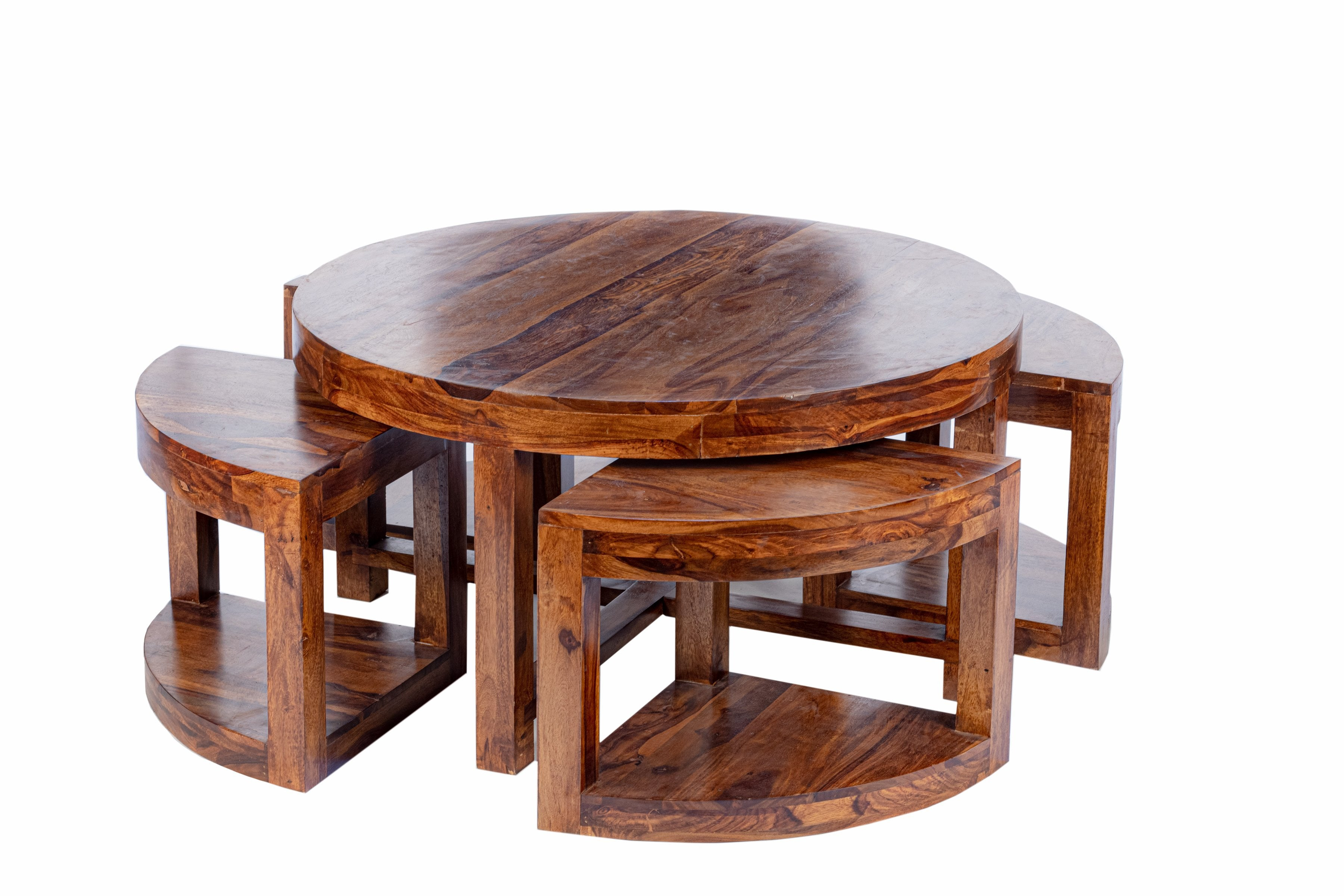 - Round Coffee Table With Stools – House Of Kraft
