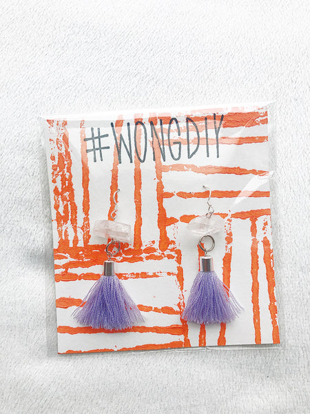 WHITE/LAVENDER TASSEL EARRINGS