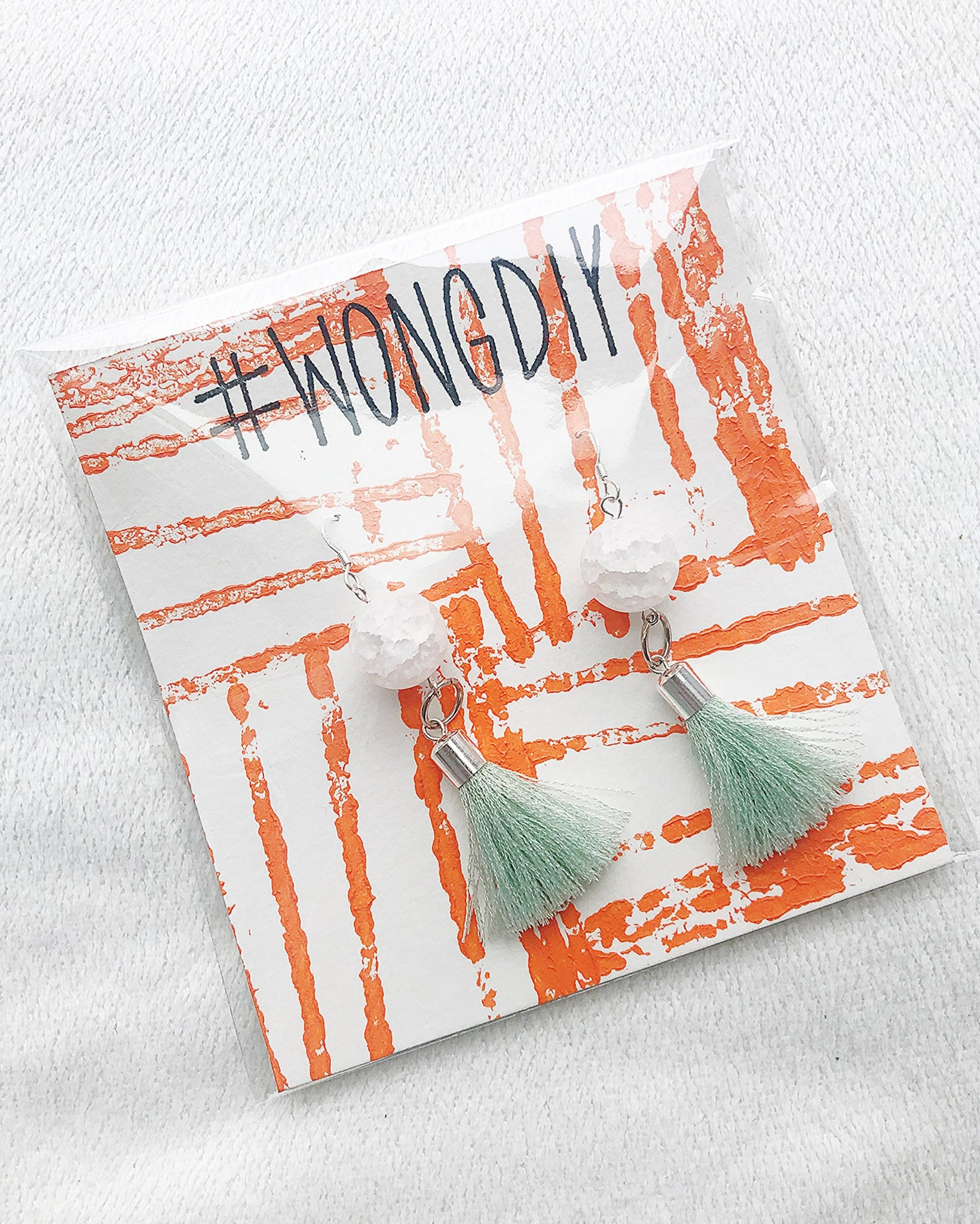 WHITE/MINT TASSEL EARRINGS