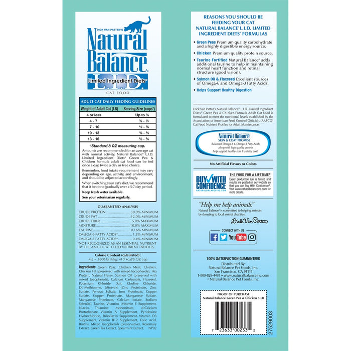 Natural Balance L.I.D. Limited Ingredient Diets Green Pea & Chicken Dry Cat Food