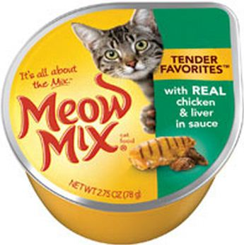 Meow Mix Tender Favorites Real Chicken and Liver in Gravy Cat Food Cups