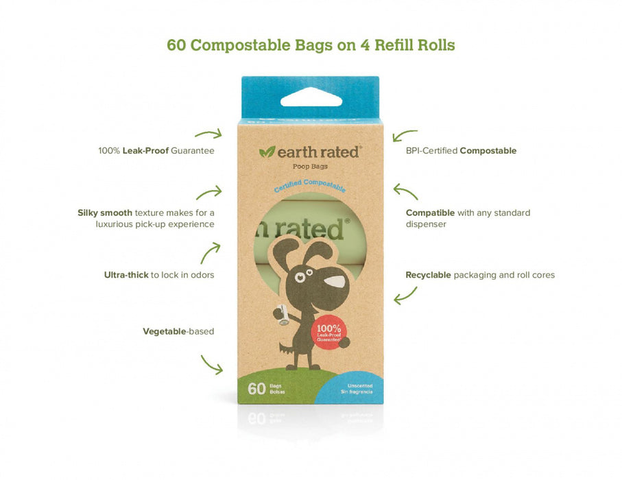 Earth Rated Unscented Vegetable Based Dog Waste Bags