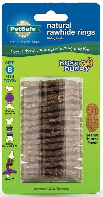 PetSafe Busy Buddy Natural Rawhide Peanut Butter Ring Treats Dog Toy Refill