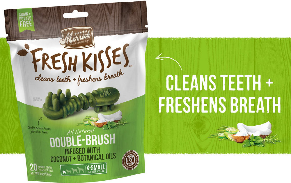 Merrick Fresh Kisses Grain Free Coconut Oil & Botanicals Extra Small Dental Dog Treats
