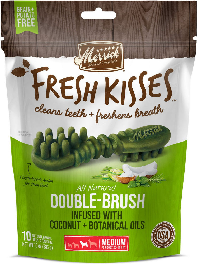 Merrick Fresh Kisses Grain Free Coconut Oil and Botanicals Medium Dental Dog Treats